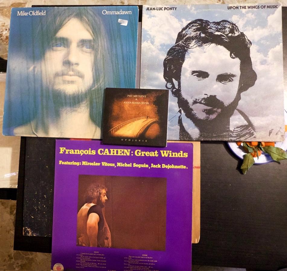 3 vinyles, Mike Oldfield, Jean-Luc Ponty et François Cahen, et un CD de Pat Metheny.